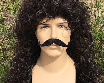 Captain Hook Pirate Mens Curly Black Wig