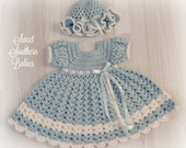 Baby and Toddler Girl's Blue Dress with Matching Easter Bonnet - Newborn to 2 Years - Easter - Spring - Summer