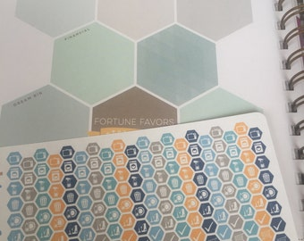 """Daily Chore Hexagons 1/4"""" (Caribbean) for Planner - Planner Stickers - inkWELL Press"""