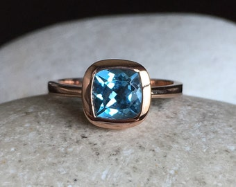 Rose Gold Promise Ring- Simple Blue Engagement Ring- Swiss Blue Topaz Ring- December Birthstone Ring- Cushion Promise Ring-