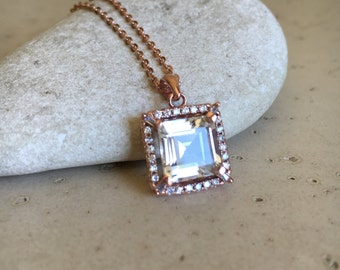 Rose Gold Necklace- Bridal Necklace- White Topaz Necklace- Wedding Necklace- Halo Necklace- Natural Topaz Necklace Necklace- Bridal Jewelry