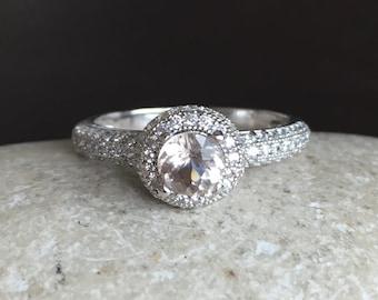 Morganite Promise Ring- Round Morganite Engagement Ring- Halo Pink Morganite Ring- Alternative Engagement Ring- Unique Promise Ring