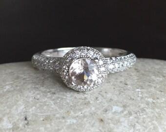 Round Shape Peach Gemstone Halo Morganite Ring Sterling Silver Alternative Diamond Eco Friendly Ring Solitaire