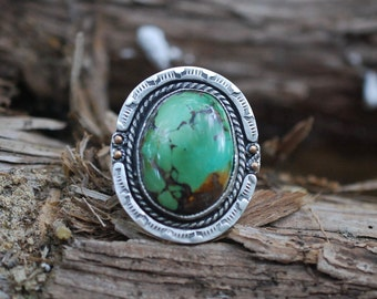 Natural Royston Turquoise Ring Size 7.75, Silver Ring, Silversmith, Statement Ring, Boho Ring, Boho Jewelry