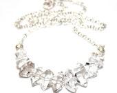 Chunky Necklace Herkimer Diamond Necklace Silver Necklace Herkimer Jewelry Quartz Necklace Bar Necklace Statement Jewelry Herkimer Quartz