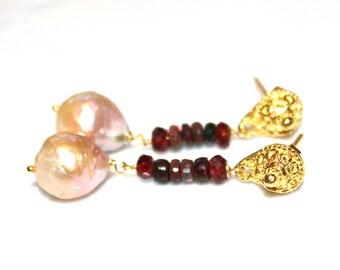 Drop Baroque Pearl Earrings Smoked Opal Earrings Garnet Earrings Black Opal Earrings Welo Opal Long Earrings January Birthstone FizzCandy