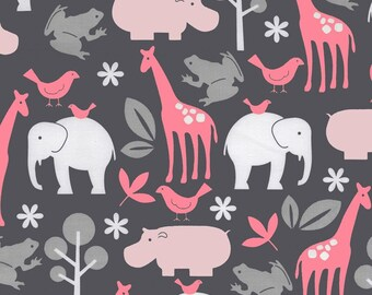 Michael Miller Fabrics Zoology in Bloom medium-weight cotton - animals in coral, pink, gray on charcoal background