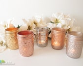 Metallic Painted Mason Jars / Candle Holders / Vase / Rose Gold / Home Decor / Set of 5 quilted jars / wedding decor / copper / gold