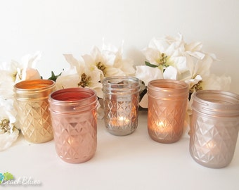 Metallic Painted Mason Jars Candle Holders Centerpiece Rose Gold Decor