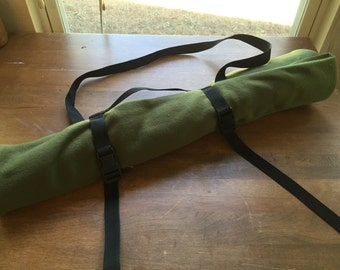 Native American Flute Bag -- Plain Green -- Flute Roll-up --  MULTIPLE FLUTE fleece wrapping carrying bag