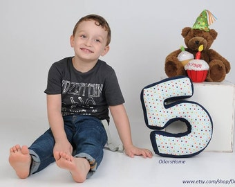 """Number cushion, number 5, number five pillow - birthday pillow - 30 cm * 20 cm / 11.8"""" x 8"""""""