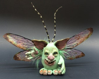 ooak Fairy friend art doll sculpture critter fae pixie butterfly wings  bean silly little thing