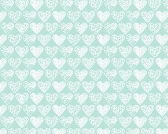 Swaddle Blanket in Mint Hearts