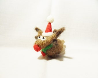 Needle Felted Christmas Reindeer - Christmas Ornament - shetland & merino wool - needle felt reindeer - Rudolf the Red Nosed Reindeer