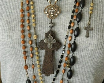 Assemblage Necklace Upcycled France Nun's Rosary 1900 Spiritual Necklace