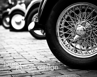 Car Photography, Austin Healey, Classic Car Photography, Black & White, Vintage Car, Antique Car, Chrome Wheels, Fine Art Photograph Print