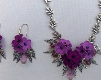 Violet Jewelry Set Flower Necklace Romantic Necklace Statement Necklace Floral Necklace Violet Lavender Wedding Jewelry Set Buttercups Gift
