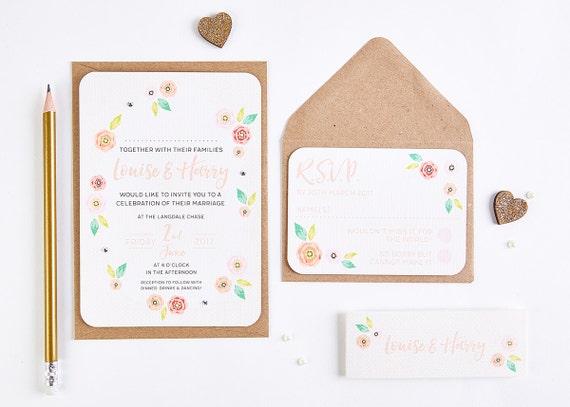 Bright Wedding Invitations: Bright Floral Bundle Wedding Invitation Bundle