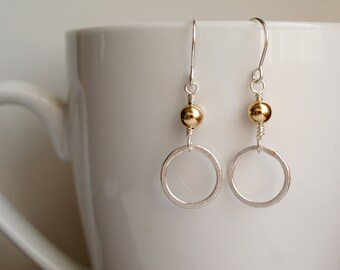 Sterling Silver and Gold Circle Earrings