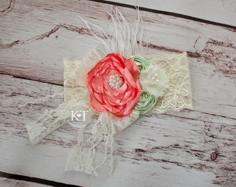 Ready to Ship- Coral, Mint, & Ivory Lace Flower Headband-baby, girl, child, toddler, flower girl, birthday, cream, rhinestone, feathers