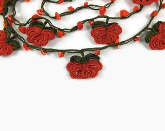 Pull over Red Rose Necklace, Crochet Necklace, Metal Free Knitted Jewelry, Turkish Oya, Red Flower Necklace, Beaded Lariat