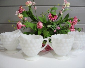 Milk Glass Creamer and Sugar,  Milk Glass Tablesetting, Two Sets