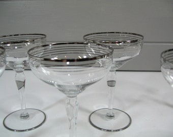 Crystal Champagne Glasses Coup, Crystal Stemware, Six Silver Rim Glasses