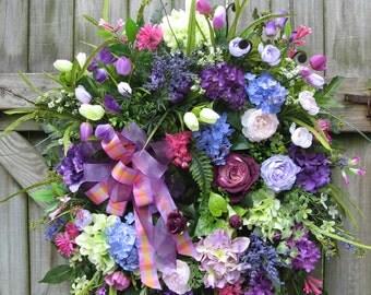 Spring Wreath, Summer Wreath, French Cottage Wreath, English Country, Ivysage Designs Wreath, Purple Wreath, Door Wreath