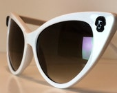 Sugar Skull, White Cateye Sunglasses, Skulls, Day of the Dead, Rockabilly, Pinup, Punk, Goth, Handmade, Vintage, cat eye glasses, party mask