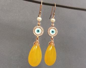 Evil Eye earrings, Yellow Jade gemstone earrings, Protection, Evil eye jewelry, Gemstone jewelry, Rose Gold earrings