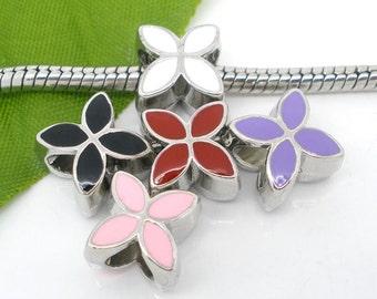 5 PCs Mixed Enamel 4 Petals Flower European Beads
