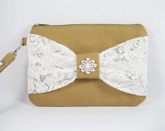 SUPER SALE - Tan with White Lace Bow Clutch - Bridal Clutches, Bridesmaid Wristlet, Wedding Gift - Made To Order