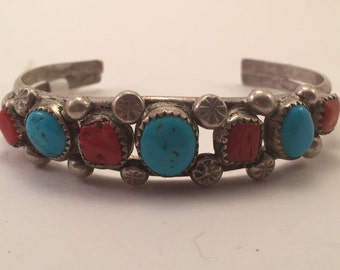 Vintage Sterling Navajo Turquoise & Coral Cuff