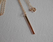 Vertical Gold Bar Necklace,Sterling Silver Vertical Bar Necklace, Minimalist 14kt Gold Bar Necklace, Delicate Gold Necklace