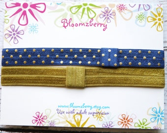 2 pcs Navy/Gold Headbands Set - Navy Gold Dots and Gold Headband - Baby Girl Headbands -Everyday/Gift/Baby Shower/Photo Props- Baby to Adult
