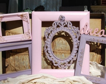 Set Of 5 Picture Frames  /  Shabby Chic Frames / Ornate PICTURE FRAMES / Picture Frame Set