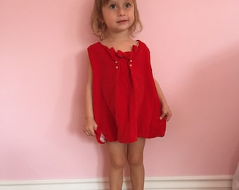 Adorable Red Velvet 1950s 50s sweetheart vintage Girls Dress 2T/3T