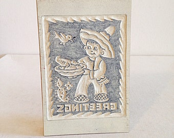 Vintage Hand Carved Linoleum Block for Postcard Printmaking Mexican Boy and Cactus