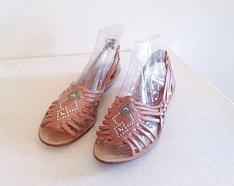 Vintage 1980s/1990s Southwest Woven Sandals Huaraches Size 7 1/2 to 8
