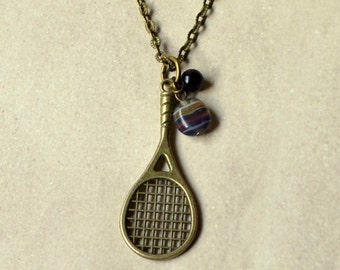 Tennis Racket Necklace Boho Antique Bronze 3D Sports Pendant Bohemian Raquet Fashion Jewelry Paisley Beading FREE Shipping