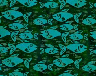 Parkside Fabrics Bali Batik By Princess Mirah Deep Dive Collection, Fish Blue Delphy