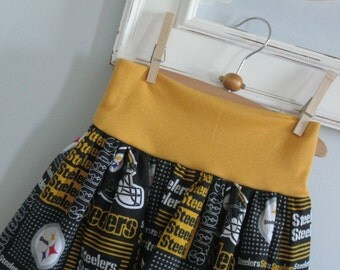 Girls Skirt-Pittsburgh Steelers with coordinating yoga style waistband-Made to order to size 10-Team Spirit Football