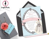 Vintage Bridal Shower Invitation - HERE COMES The BRIDE Printable