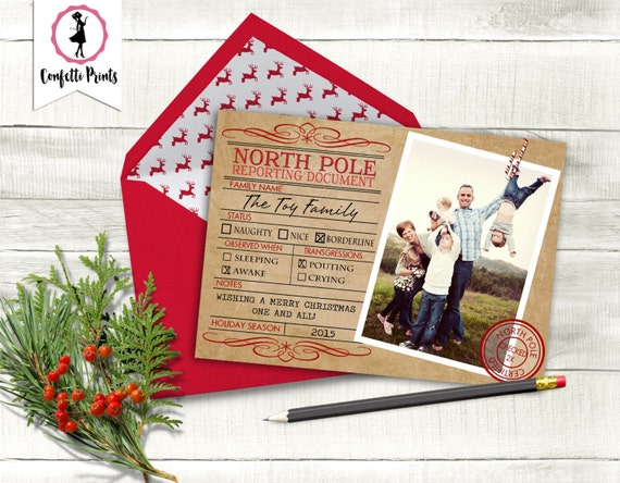 Funny Christmas Card | Funny Holiday Card | Naughty or Nice Christmas Card | Personalized Christmas Card - NORTH POLE REPORT Printable