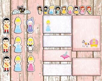 HS Cinderella Mini Weekly Spread | Erin Condren | Planner Stickers | Sticker | Plan | Disney | Princess | Prince | EC | Boxes | Week |