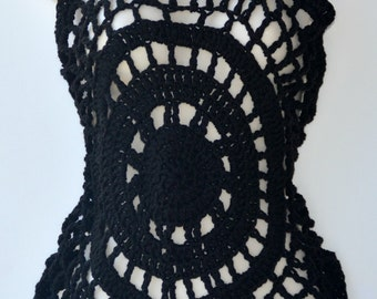 Halter top in black, Crocheted cover up, Women's top, Fall accessory, Fall cover up, Handmade crochet top, Women's clothing