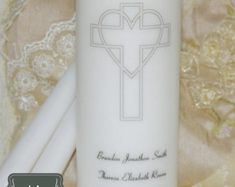 Unity Candle Set, Wedding Candle Set, Cross and Heart, Customized Unity Candle, Personalized Wedding Candle, Anniversary Candle