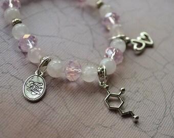 Biolojewelry - Dopamine Neurotransmitter Molecule Love You Rose Quartz Bracelet