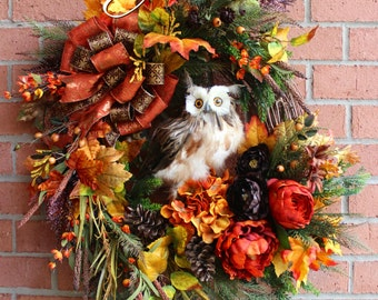Deluxe Fall Owl Wreath, Large Rustic Autumn Owl Wreath, Rust, Dark Brown, Autumn Floral, Fall floral swag, Peony, Fern, Woodland Swag