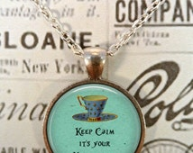 Alice In Wonderland Necklace, Unbirthday Charm, Book, Literary, We're All Mad Here, Wonderland, Steampunk, Once Upon a Time T1200